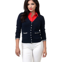 Collectif 1950s Style Navy Emily Maritime Knit Cardigan