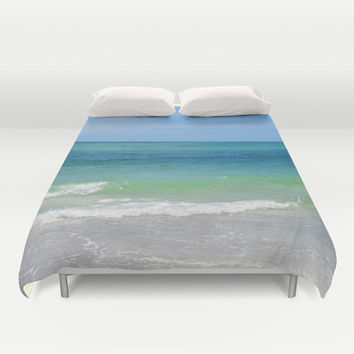 Duvet Cover, Blue Green, Sea Water, Ocean Bedding Cover, Beach Surf Decor Coastal Bedroom Bed Blanket Throw Cover, Full / Queen / King Sizes