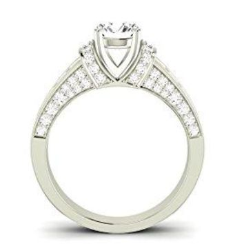 GIA CERTIFIED   1.9 CTW Contemporary Channel Set Princess And Pave Round Cut Diamond Engagement Ring w/ 1 Ct Princess Cut D Color SI1 Clarity Center (Platinum, Yellow, White, Rose)