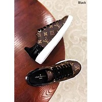 LV tide brand female old flower color matching lace-up shoes sneakers Black