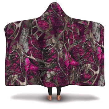 Hooded Blanket All-Over 7th  Design Pink Hunting