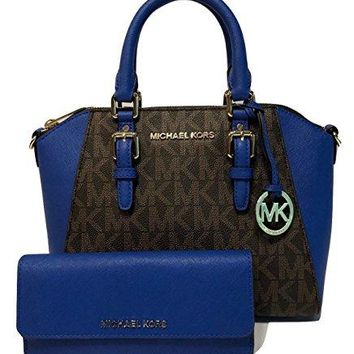 Michael Kors Ciara MD Messenger Handbag bundled with Michael Kors Jet Set Travel Flat Wallet Michael Kors bag