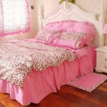 DIAIDI,Pink Leopard Print Bedding Set,Princess Ruffle Leopard Bed Sheet Set,6Pcs,Twin Queen King Size (Queen)
