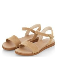 Wide Fit Camel Suede Textured Sandals