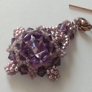 beadwoven earrings handmade of  rose and lavender  seed beads and violet round  swarovski crystal