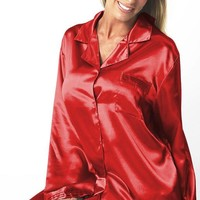 Satin Charmeuse Classic Style Pajamas w/Pleated Trim (Small-XL)