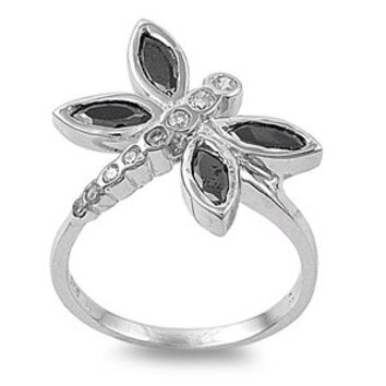 925 Sterling Silver CZ Black Wings Dragonfly Ring 20MM