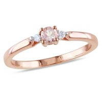 3.5mm Morganite and Diamond Accent Promise Ring in Rose Rhodium Plated Sterling Silver