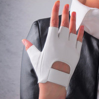 Real Leather Fingerless Short Gloves - White Lambskin Unlined Bicycle Driving Gloves - Sheepskin  - Women - Handmade