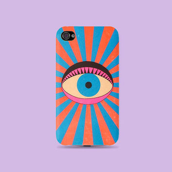 Vintage bight color Eye on you Plastic Hard Case - iphone 5 - iphone 4 - iphone 4s - Samsung S3 - Samsung S4 - Samsung Note 2