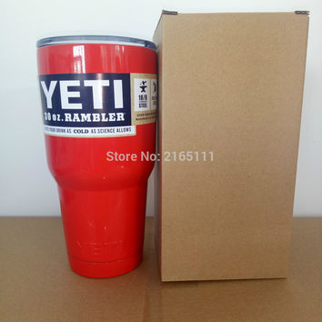 Red Color Yeti Cooler Cup 304 Stainless Steel 30 oz YETI Rambler Tumbler Vehicle Beer Mug Double Wall Bilayer Vacuum Insulated