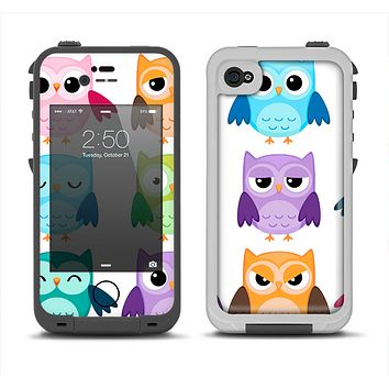 The Emotional Cartoon Owls Apple iPhone 4-4s LifeProof Fre Case Skin Set