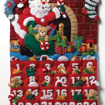 "Must Be Santa Bucilla Advent Calendar Felt Applique Kit 13""X25"""