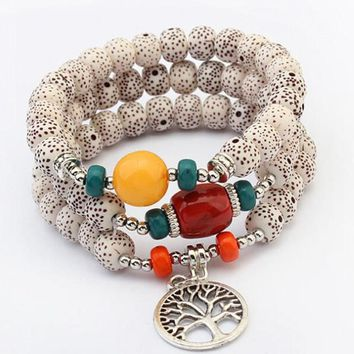 Multilayer Bodhi Beads with Tassel & Tree Of Life Charm Bracelets  - 2 Color Options
