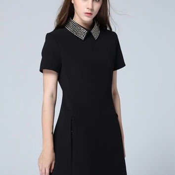 Black Shirt Collar Short Sleeve Beaded Mini A-Line Dress