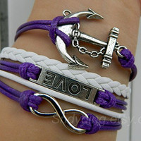 Ancient silver anchor, infinite hope, love bracelet, adjustable purple wax rope bracelet