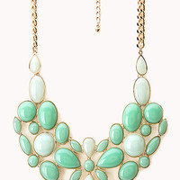 FOREVER 21 Luxe Faux Stone Bib Necklace Mint/Gold One