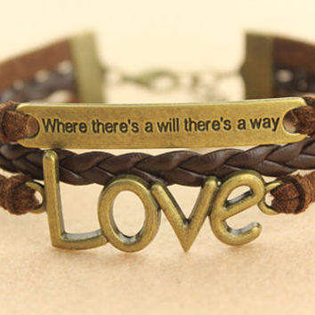 love bracelet-- statement bracelet,there a will,there a way,antique bronze charm bracelet,brown braid leather bracelet,MORE COLORS