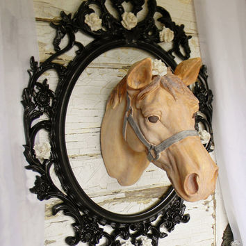 Faux Horse Head, Animal Heads, Western Wall Decor, Faux Taxidermy, Equine Decor, Painted Horse, Horse Decor, Country Home Decor, Equestrian