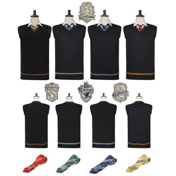 Cool Harri Potter Sweater Gryffindor V-Neck Slytherin Sweater Embroidery Tie Waistcoat Black all-match Daily Clothes Cosplay CostumesAT_93_12