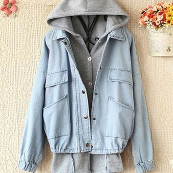 PEAPIH3 HOODED VEST FLEECE LOOSE COWBOY COAT TWO-PIECE OUTFIT