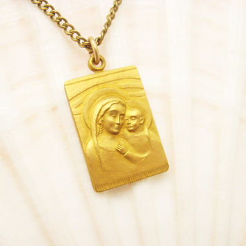 Vintage Religious Medal Mary Jesus Pendant NCCW Gold Filled N6517