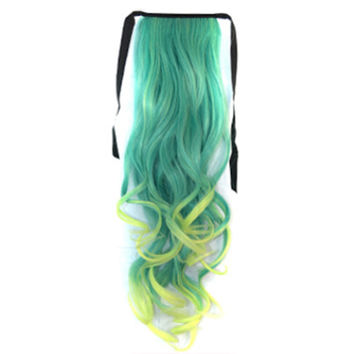 Gradient Ramp Horsetail Lace-up Curled Wig KBMW peacock green to mint yellow