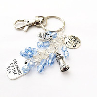 Beaded Keychain, Dreaming of the Sea Purse Jewelry, Beach Keychain Accessory, Lighthouse Charm, Sand Dollar Charm