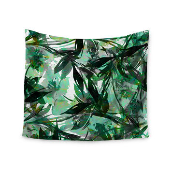 "Ebi Emporium ""Floral Fiesta Green"" Watercolor Pattern Wall Tapestry"