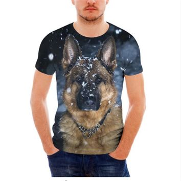 Cool German Shepherd All Over Print Dog T-Shirts