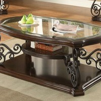 Coaster 702448 Wildon collection dark merlot finish wood and ornate metal scrollwork coffee table