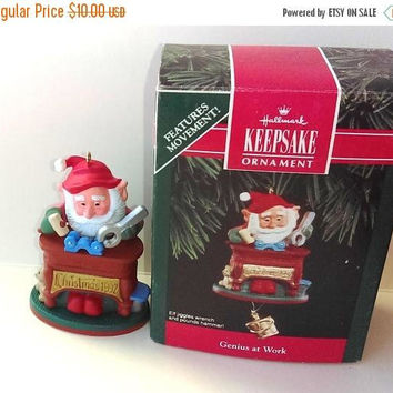 Christmas Sale Elf Ornament - Workshop Elf Figurine - Christmas Gift Idea - Christmas Present - Vintage Hallmark Ornaments