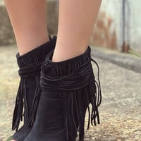 Livingstone Falls Black Peep Toe Zip Up Ankle Booties With Wraparound Fringe