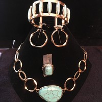 Jen's Gold with turquoise Jewelry Set
