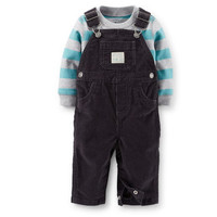 2-Piece Jersey Top & Corduroy Overall Set