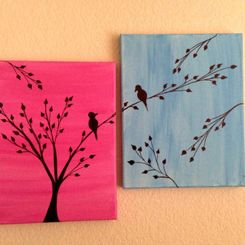 Love birds painting acrylic painting canvas art pink blue background birds silhouette wall decor birds on