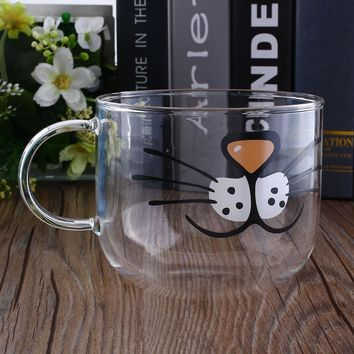 Lovely Cat Boronsilicate Glass Coffee Cup Home Transparent Clear Water Mug 550ML Milk Mugs Caneca Gato