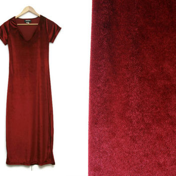 Vintage Maxi Velvet Dress~Size Extra Small to Medium~90s Shift Red Maroon Long Slit Formal Dress~By Dandy