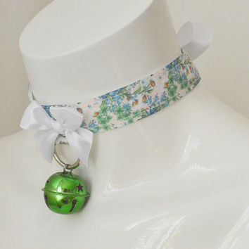 Kitten play collar - Flower fairy - ddlg princess collar BDSM proof adult choker - blue and white necklace with green bell and leash ring