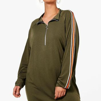 Plus Becca Tape Trim Oversized Sweat Dress | Boohoo