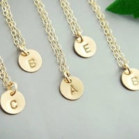 adding part letter disc charm monogram initial charm gold silver copper plated necklace charm bridesmaids brides party gift for best friends