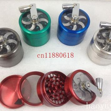 50pcs/lot Free Shipping Herb Spice Grass Weed Aluminum Tobacco Herb 4 layer hand Grinder Grinding machine Random color