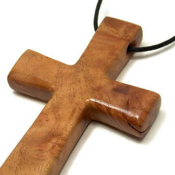 Large Cross Necklace, Men's Wooden Cross Necklace, Jewelry for Men, Men's Pendant, Cross Pendant, Husband Gift, Christmas Gift for Men