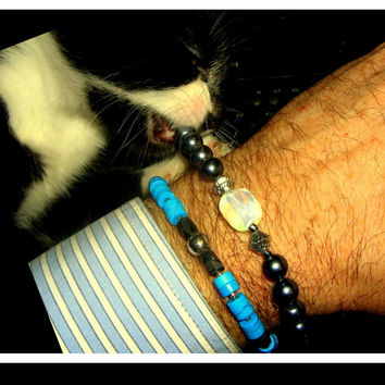 Mens Gemstones Beaded Bracelet.Opal & Hematite, silver beads.Mala boho Necklace,Healing, protection, SUCCESS unisex BRACELET