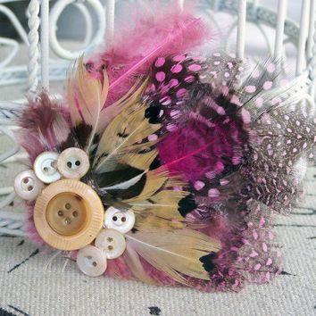 Handmade Vintage Buttons and Pink Feather Fascinator - 3 inches | peaceloveandallthingsjewelry - Accessories on ArtFire