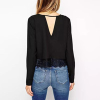 Long Sleeve Back V Shape Cut-Out Blouse with Lace