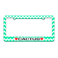 Cactus Love with Hearts - License Plate Tag Frame - Teal Chevrons Design