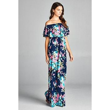 Off Shoulder Floral Maxi Dress - Navy