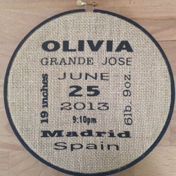Personalized Burlap Hoop - Nursery - Kids Room - Name - Sing - Decor Home - Gift -  Trendy