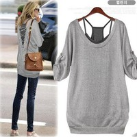 2 PCS Cute Casual Gray Shirt and Black Tanks Top